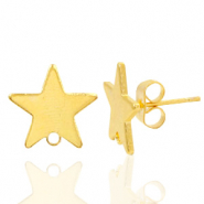 Findings TQ metal earrings star 1 loop Gold