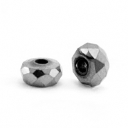 Hematite beads faceted disc 4x2mm Anthracite Grey