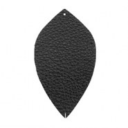 Faux leather pendants leaf medium Black