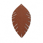 Faux leather pendants leaf small Chocolate Brown