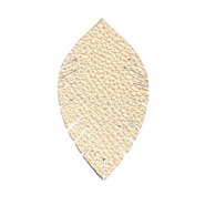 Faux leather pendants leaf small Champagne Gold