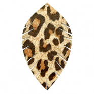 Faux leather pendants leaf large leopard Beige-Brown