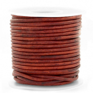 DQ leather round 3 mm Vintage Burgundy Red