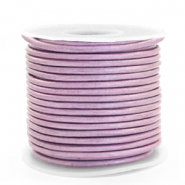 DQ leather round 3 mm Lilac Purple Metallic