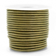 DQ leather round 3 mm Olive Green Metallic