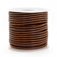 DQ leather round 2 mm Pecan Brown Metallic