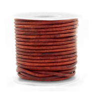 Benefit package DQ leather round 2 mm Vintage Burgundy Red