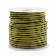 DQ leather round 2 mm Vintage Moss Green