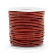 DQ leather round 1 mm Vintage Burgundy Red