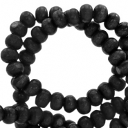 Wooden beads round 6mm Nature Wood-Greige Black