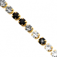Rhinstone chain Black Crystal-Gold