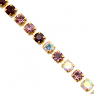Rhinstone chain Black Rose Crystal AB-Gold
