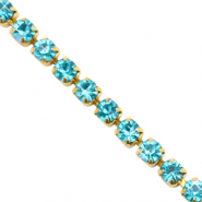 Rhinestone chain Turquoise Blue-Gold