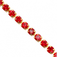 Rhinstone chain Siam Red-Gold