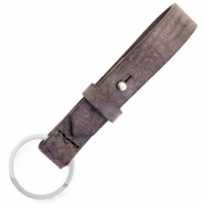 Cuoio key chain 15 mm Graphite Brown
