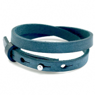 Cuoio bracelets leather 8mm double for 12mm cabochon Blue Wing Teal