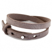 Cuoio bracelets leather 8mm double for 12mm cabochon Graphite Brown