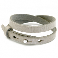 Cuoio bracelets leather 8mm double for 12mm cabochon Neutral Grey