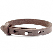 Leather Cuoio kids bracelet 8mm for 12mm cabochon Graphite Brown