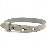 Leather Cuoio kids bracelet 8mm for 12mm cabochon Neutral Grey