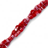 Top faceted beads cube 2x2mm Red Dahlia-Pearl Shine Coating