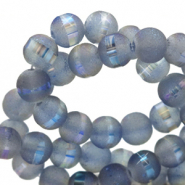 6 mm glass beads mat holographic line Blue Grey