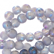 4 mm glass beads mat holographic line Grey Purple