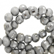 8 mm glass beads mat holographic line Grey Silver