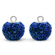 Pompom charms with loop glitter 12mm Cobalt Blue-Silver