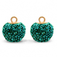 Pompom charms with loop glitter 12mm Fir Green-Gold