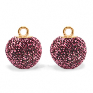 Pompom charms with loop glitter 12mm Hawthorn Rose-Gold