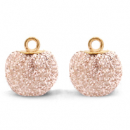 Pompom charms with loop glitter 12mm Silver Pink-Gold