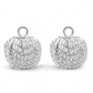 Pompom charms with loop glitter 12mm Crystal Silver-Silver