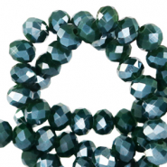 Top faceted beads 4x3mm disc Eden Green-Pearl Shine Coating