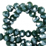 Top faceted beads 3x2mm disc Eden Green-Pearl Shine Coating