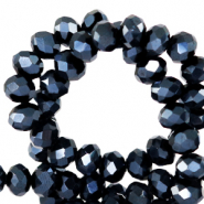 Top faceted beads 6x4mm disc Black-Pearl Shine Coating