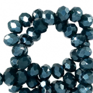 Top faceted beads 8x6mm disc Depths Greenish Blue-Pearl Shine Coating