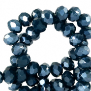 Top faceted beads 4x3mm disc Depths Blue-Pearl Shine Coating