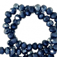 Top faceted beads 3x2mm disc Depths Blue-Pearl Shine Coating