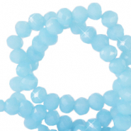 Top faceted beads 4x3mm disc Sky Blue-Pearl Shine Coating