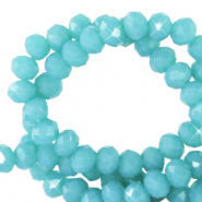 Top faceted beads 4x3mm disc Dark Turquoise Blue-Pearl Shine Coating