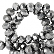 Top faceted beads 4x3mm disc Grey Metallic-Pearl Shine Coating