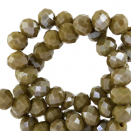 Top faceted beads 6x4mm disc Dark Sage Green-Pearl Shine Coating