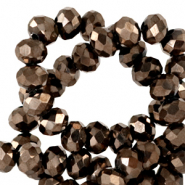 Top faceted beads 4x3mm disc Jet Brown Metallic-Pearl Shine Coating