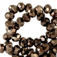 Top faceted beads 3x2mm disc Jet Brown Metallic-Pearl Shine Coating