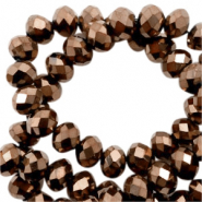 Top faceted beads 8x6mm disc Gold Metallic-Pearl Shine Coating