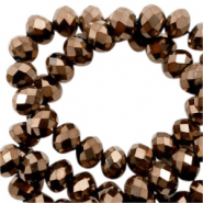 Top faceted beads 4x3mm disc Gold Metallic-Pearl Shine Coating