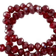 Top faceted beads 8x6mm disc Salsa Red-Pearl Shine Coating