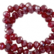 Top faceted beads 6x4mm disc Salsa Red-Pearl Shine Coating