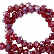 Top faceted beads 3x2mm disc Salsa Red-Pearl Shine Coating